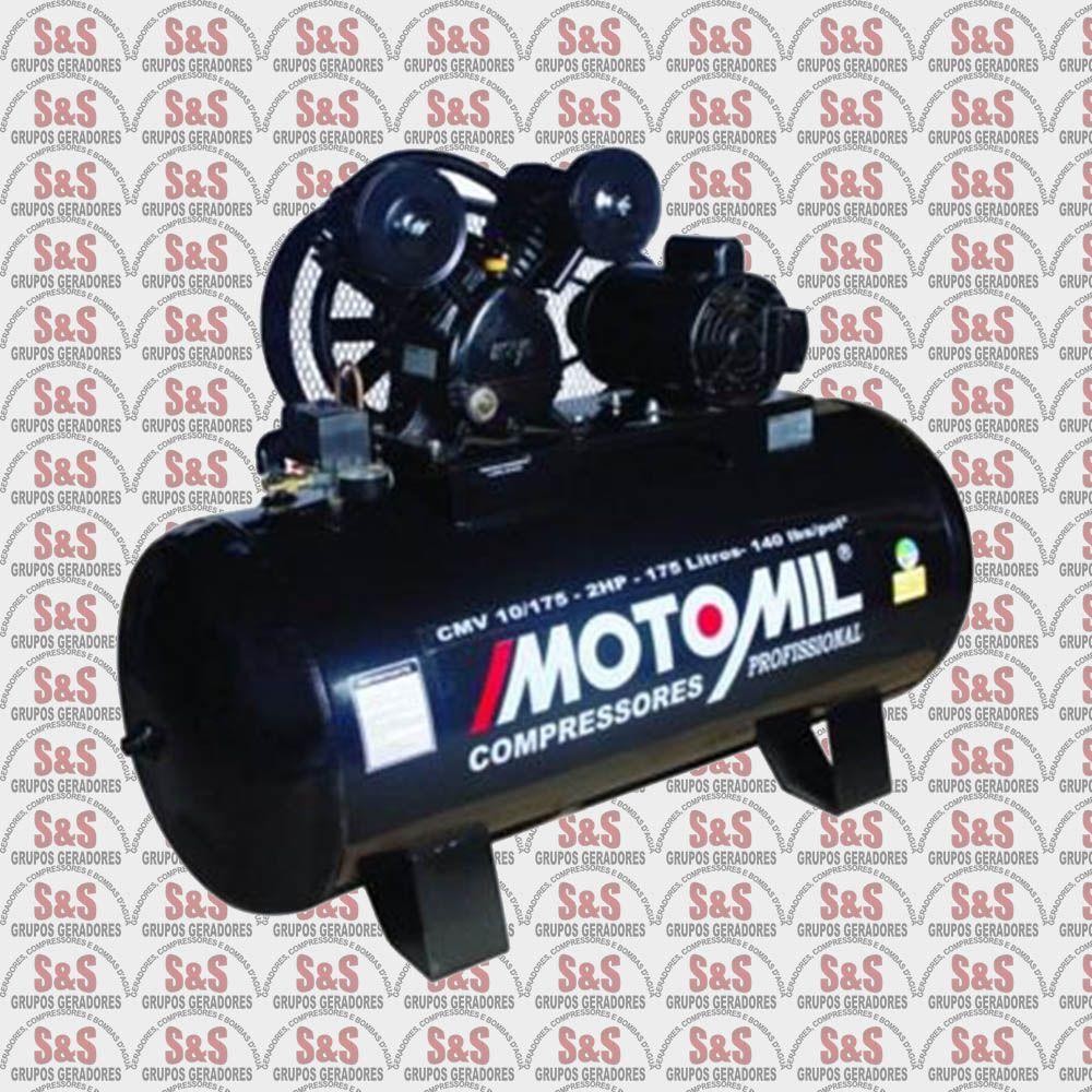 Compressor de ar 10 pés - 175 litros - Trifásico - CMV10/175 - Motomil
