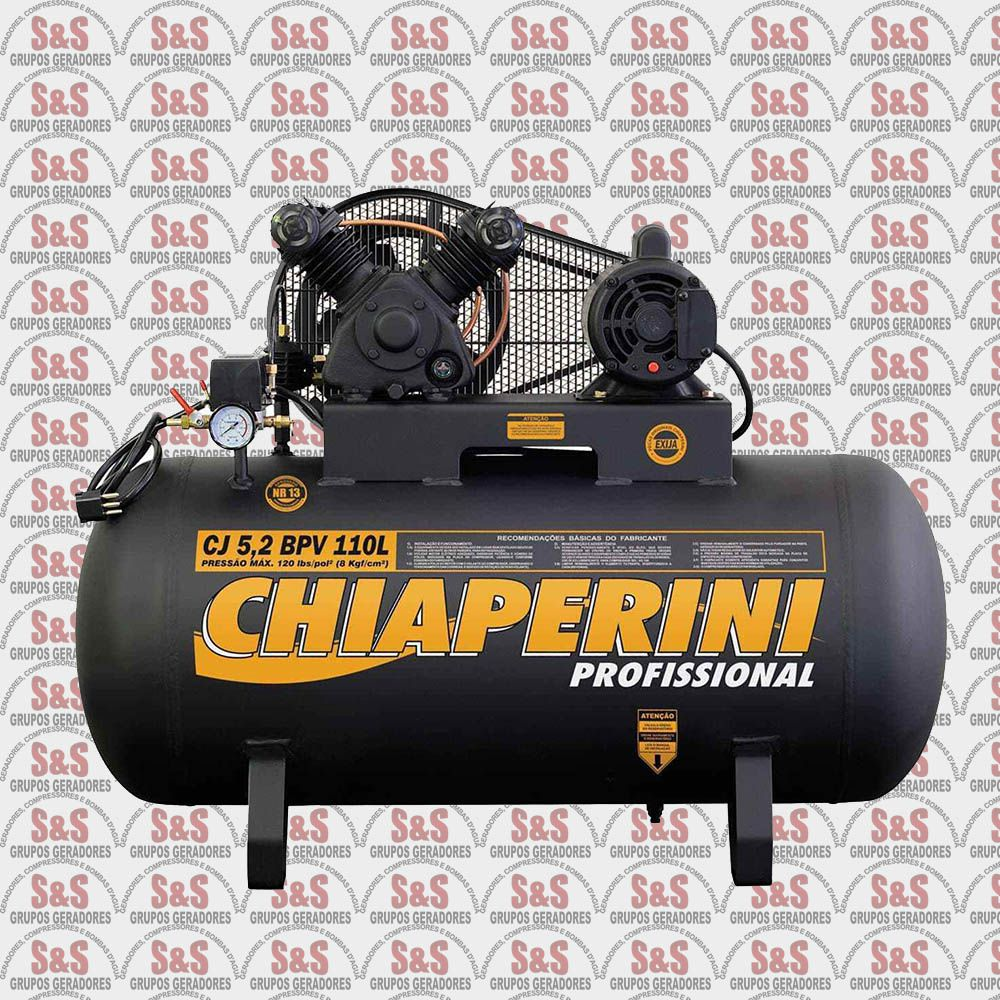 Compressor de Ar CJ10 + BPV 110L - Trifásico - Chiaperini