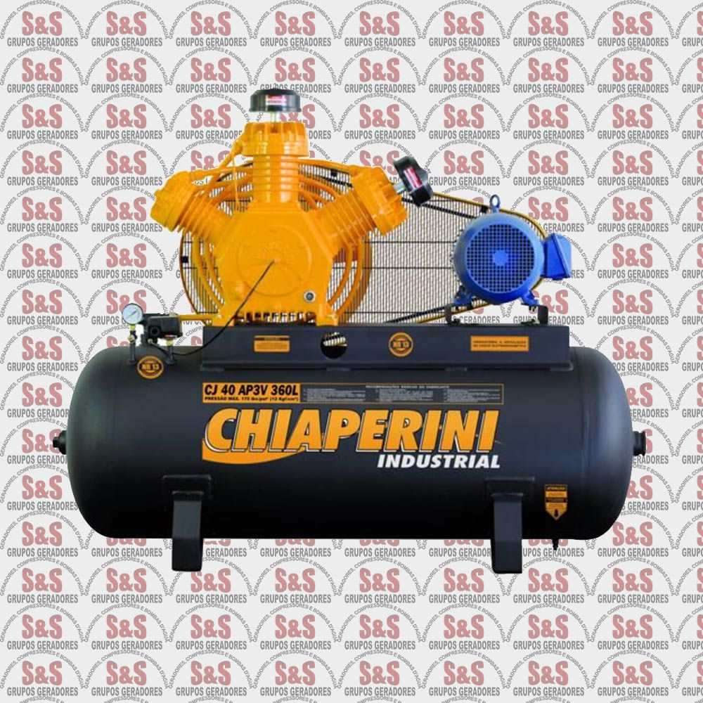 Compressor de Ar CJ40 AP3V - 10HP - 4P - RV360L - Trifásico - Chiaperini