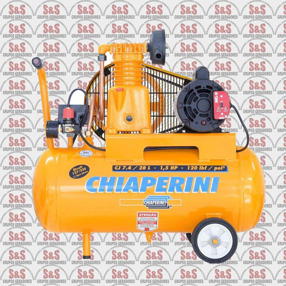 Compressor de Ar CJ 7.4 - 28L - Bivolt 127/230V - Chiaperini