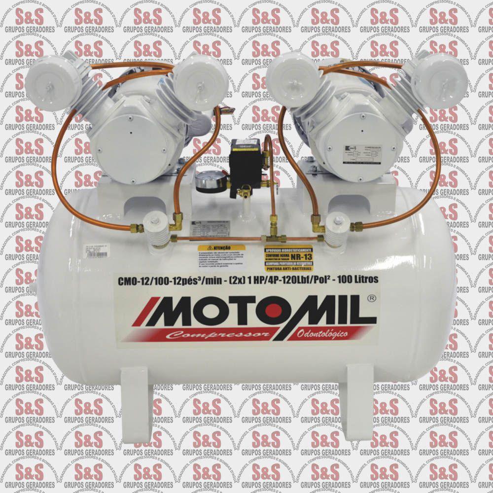 Compressor de Ar Odontológico - 1HP - 4P - Monofasico - Isento de Óleo - CMO12/100 - Motomil