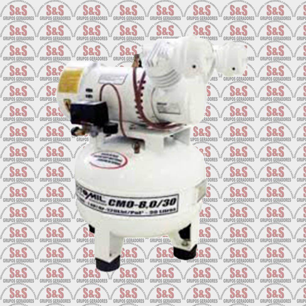 Compressor de Ar Odontológico - 1HP - 4P - Monofasico - Isento de Óleo - CMO8/30 - Motomil