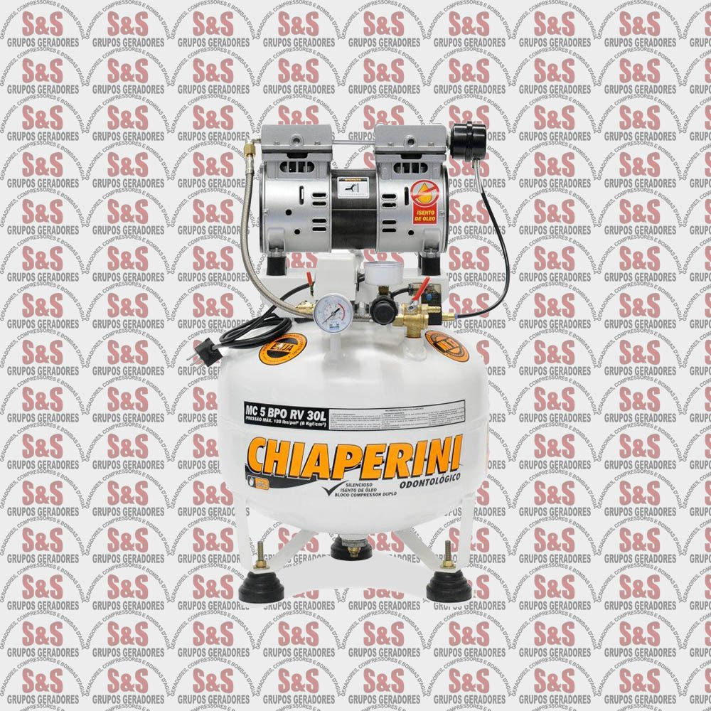 Compressor de Ar Odontológico - MC5 BPO RV 30L - Bivolt 127/220V - Chiaperini