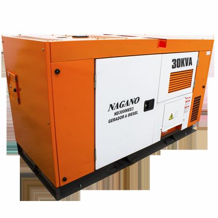 Gerador de energia a Diesel 220V Trifásico 30 kVA partida elétrica silenciado cabinado c/ QTA Nagano - ND30000ES3QTA