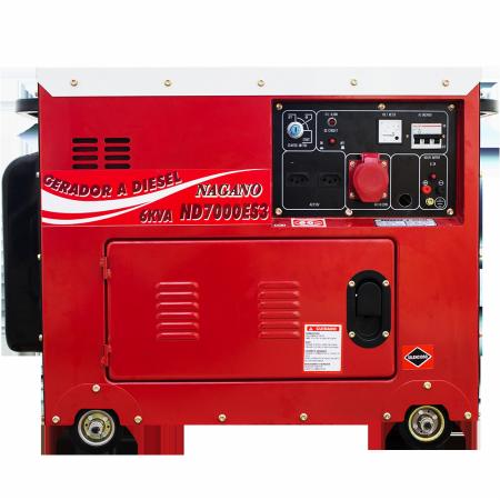 Gerador de energia a Diesel 380V Trifásico 6.0 KVA P. Elétrica Silenciado - ND7000ES3D - Nagano