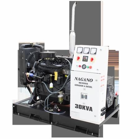 Gerador de energia a Diesel 220V Trifásico 30 kVA partida elétrica Aberto c/ QTA Nagano - ND30000E3QTA