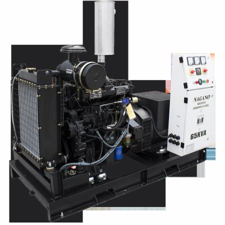 Gerador de energia a diesel 65 kVA trifásico 220V - partida elétrica Aberto c/ QTA Nagano - ND65000E3QTA
