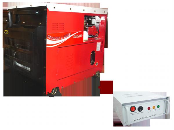 Gerador de energia a Diesel Monofásico 6.0 KVA P. Elétrica Silenciado com QTA - ND7000ESQTA - Nagano