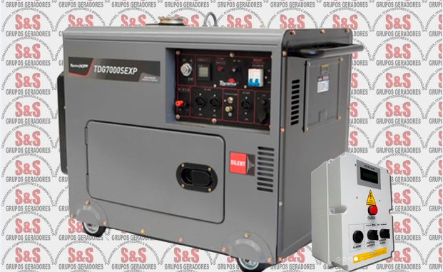 Gerador de Energia 6 Kva Diesel Cabinado-Part.Elétrica com AVR - TDG7000SEXP  QTA 30 Amperes