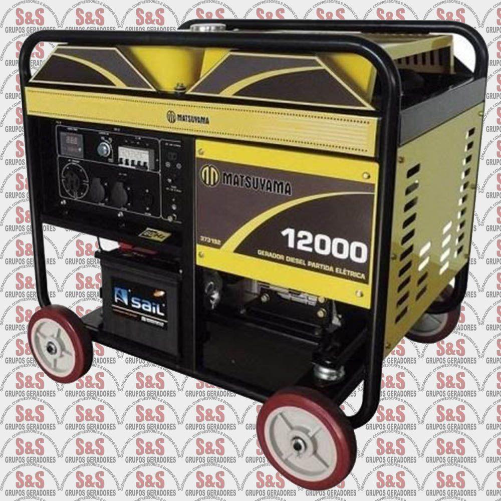 Gerador de Energia a Diesel 11 KVA - Partida Eletrica - Monofásico - Gerador 12000 - Matsuyama