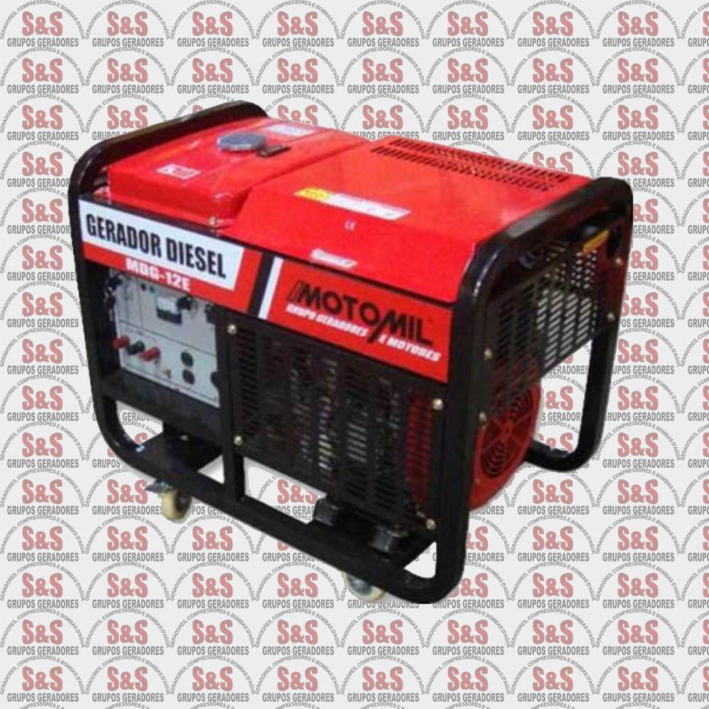 Gerador de Energia a Diesel 12 KVA - Trifásico - Partida Elétrica - MDGT12E2 - Motomil