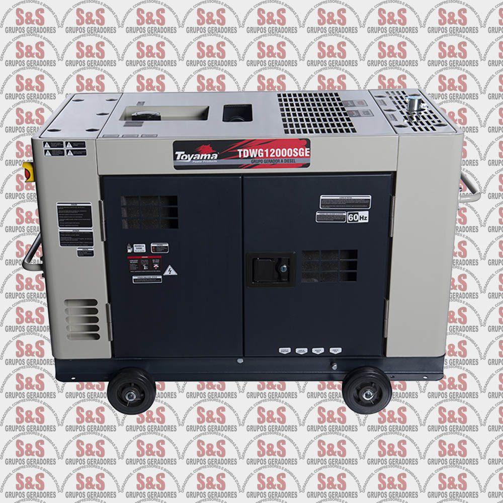 Gerador de Energia a Diesel 220V Trifásico - 12,6 KVA - Partida Elétrica - Silenciado - TDWG12000SGE3D-N Toyama