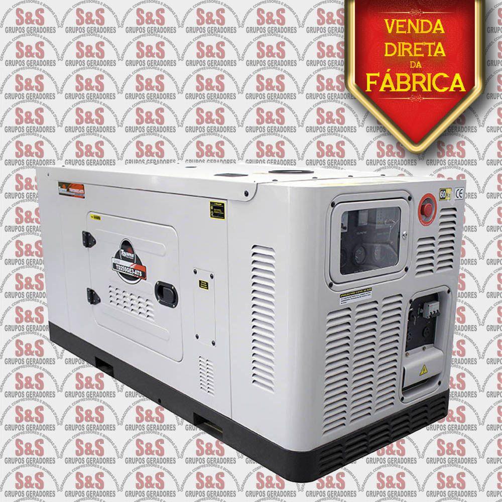 Gerador de Energia a Diesel 220V Trifásico 25 KVA  Refrigerado a água - Partida Elétrica - Silenciado - TD25SGE3-220 - Toyama