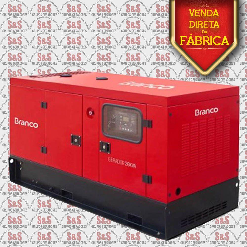 Gerador de Energia a Diesel 26 KVA com ATS - Trifásico 220V - Partida Elétrica - Silenciado - BD26000E3S - Branco