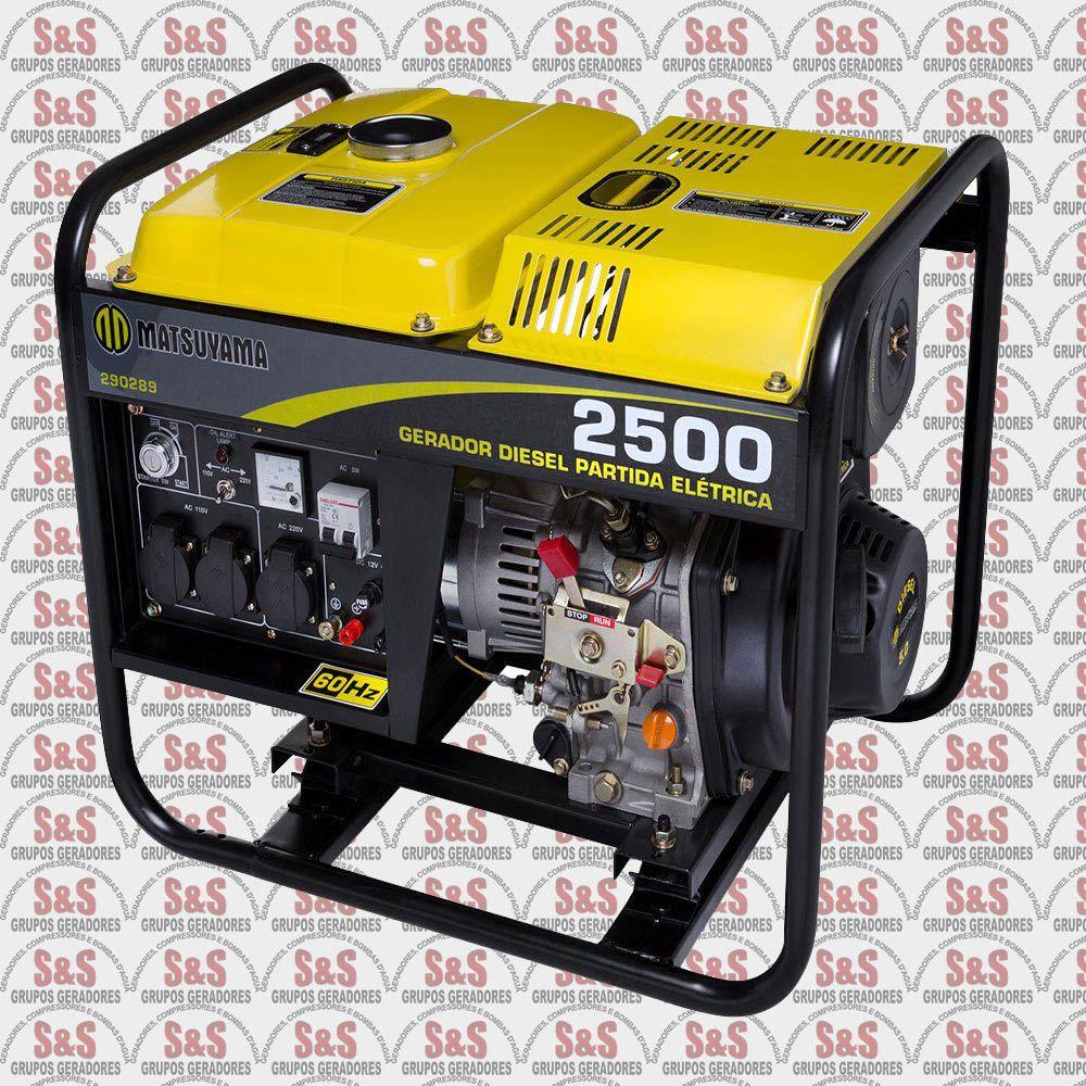 Gerador de Energia a Diesel 2,5KVA - Monofásico 220V - Partida Eletrica - 2500 - Matsuyama