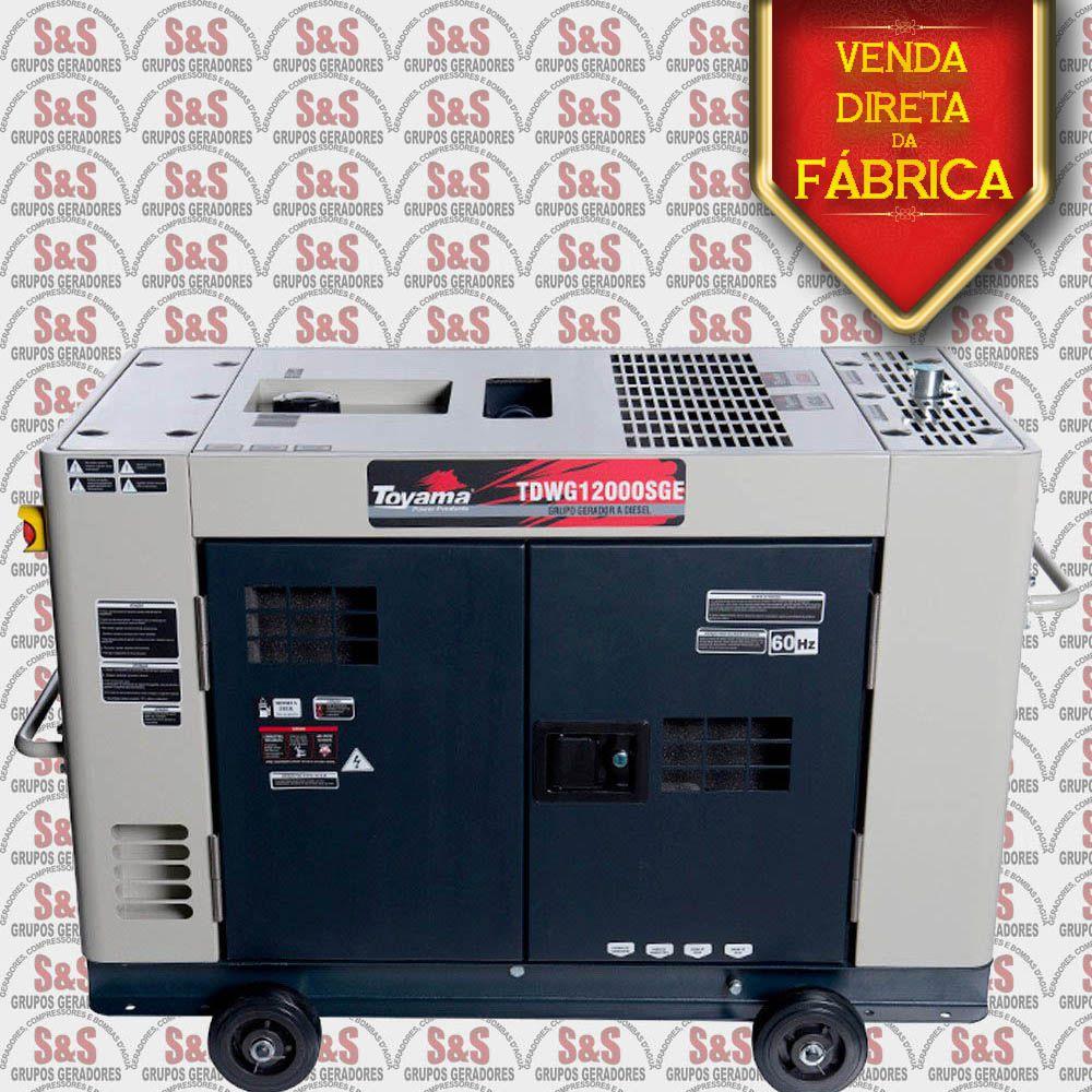 Gerador de Energia a Diesel 380V Trifásico 12,6 KVA Partida Elétrica, Silenciado - TDWG12000SGE3-N Toyama