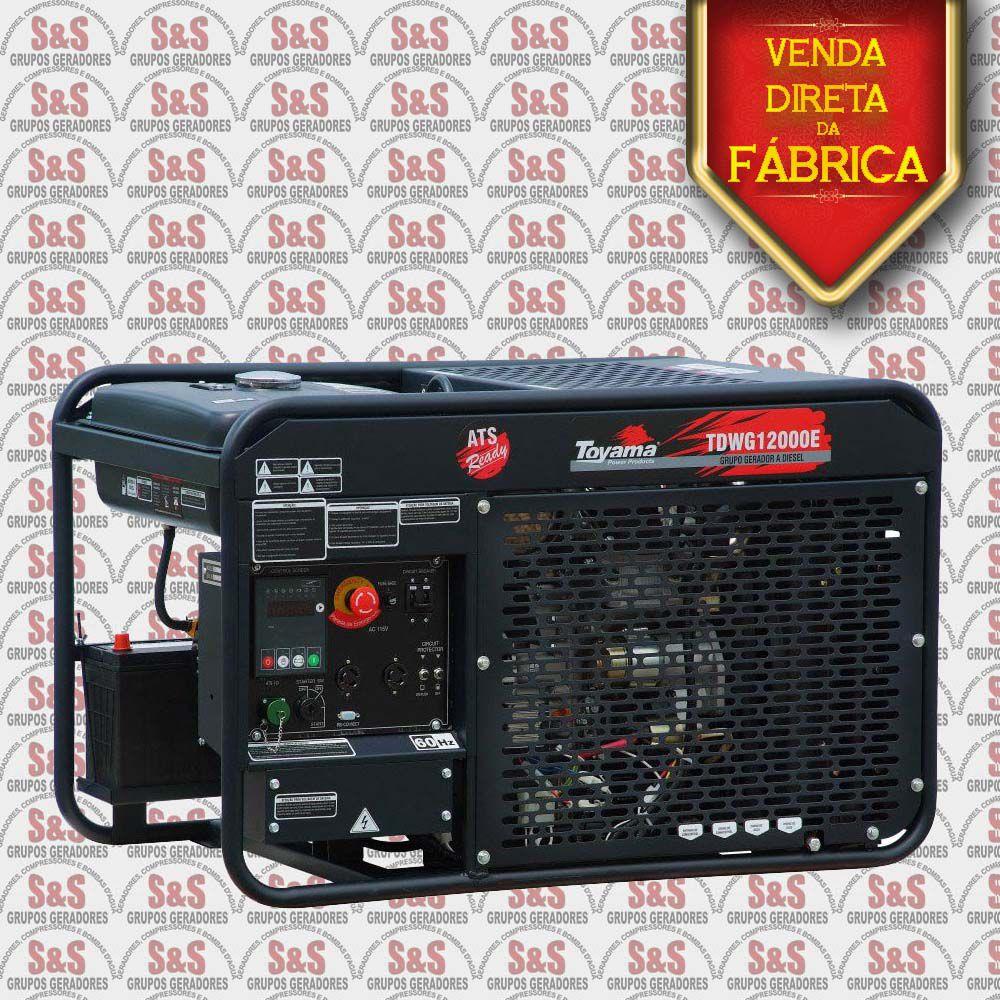 Gerador de Energia a Diesel 380V Trifásico 12.6 KVA – Refrigerado a Água - Partida Elétrica – TDWG12000E3-N - Toyama