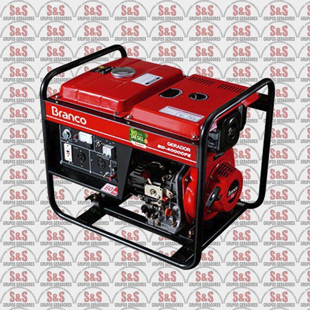 Gerador de Energia a Diesel 3.3 KVA - Monofásico - Partida Elétrica - BD4000E - Branco