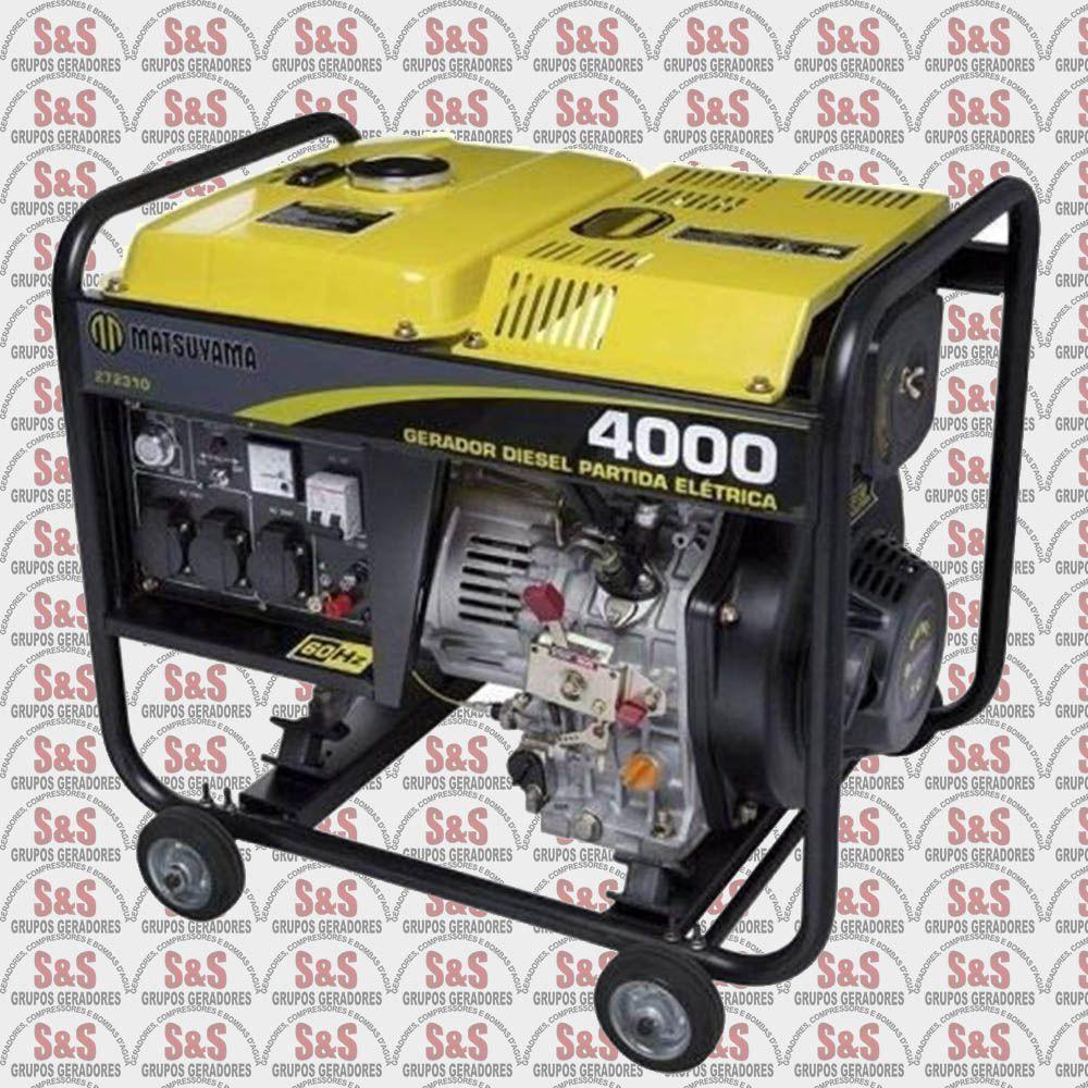 Gerador de Energia a Diesel 4KVA - Monofásico 220V - Partida Eletrica - 4000 - Matsuyama