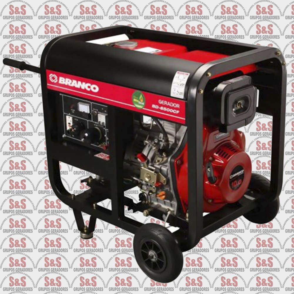 Gerador de Energia a Diesel 5,5 KVA - Trifásico 220V - Partida Elétrica - BD6500E3 - Branco