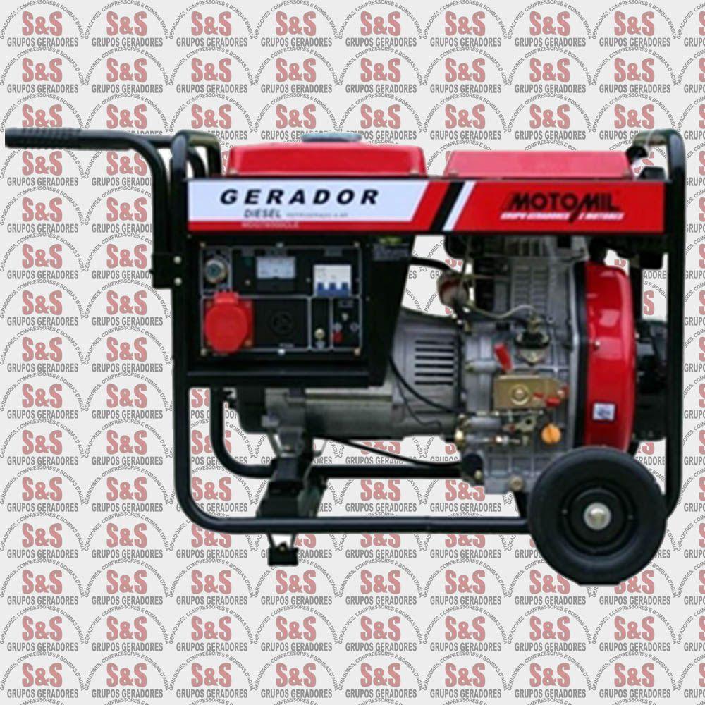 Gerador de Energia a Diesel 6,5KVA - 220V Trifásico - Partida Elétrica - MDGT6500CLE - Motomil