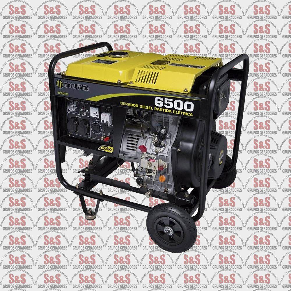 Gerador de Energia a Diesel 6,5KVA - Monofásico 220V - Partida Manual - 6500 - Matsuyama