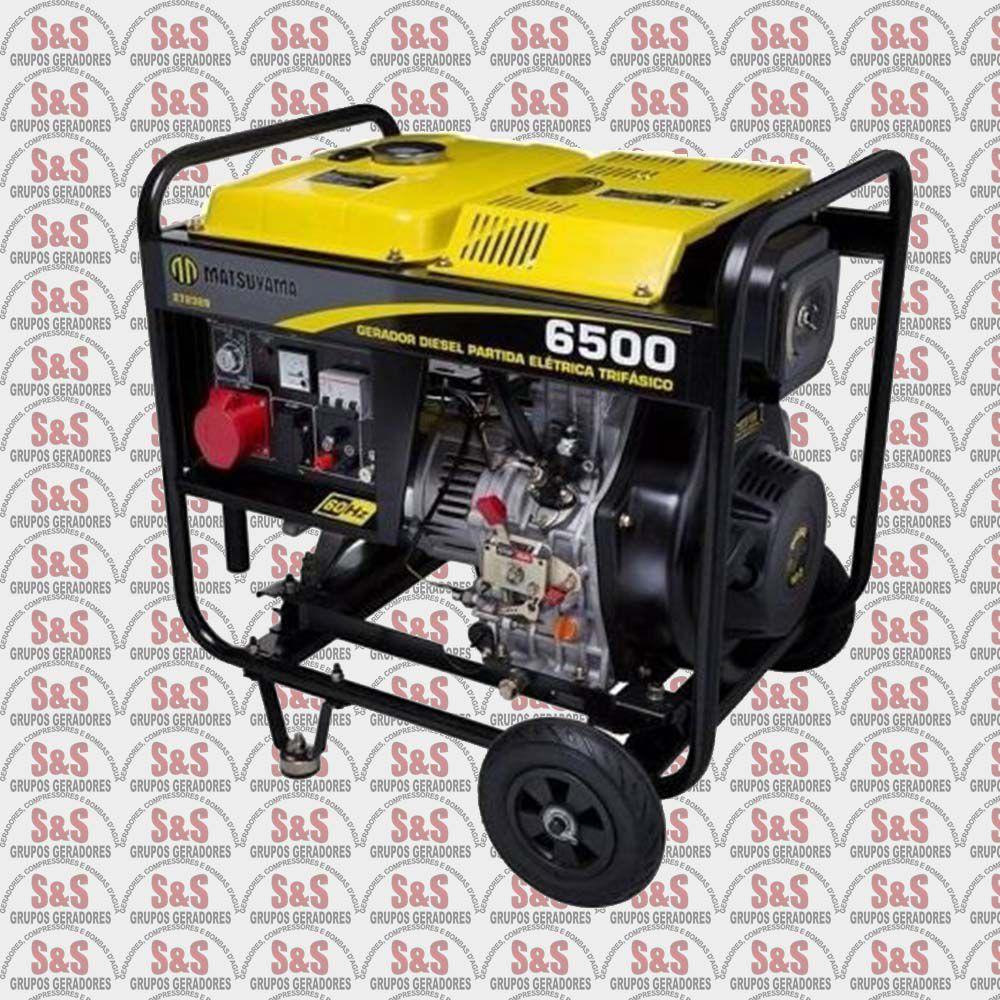 Gerador de Energia a Diesel 6,5KVA - Trifásico 380v - Partida Eletrica - 6500 - Matsuyama