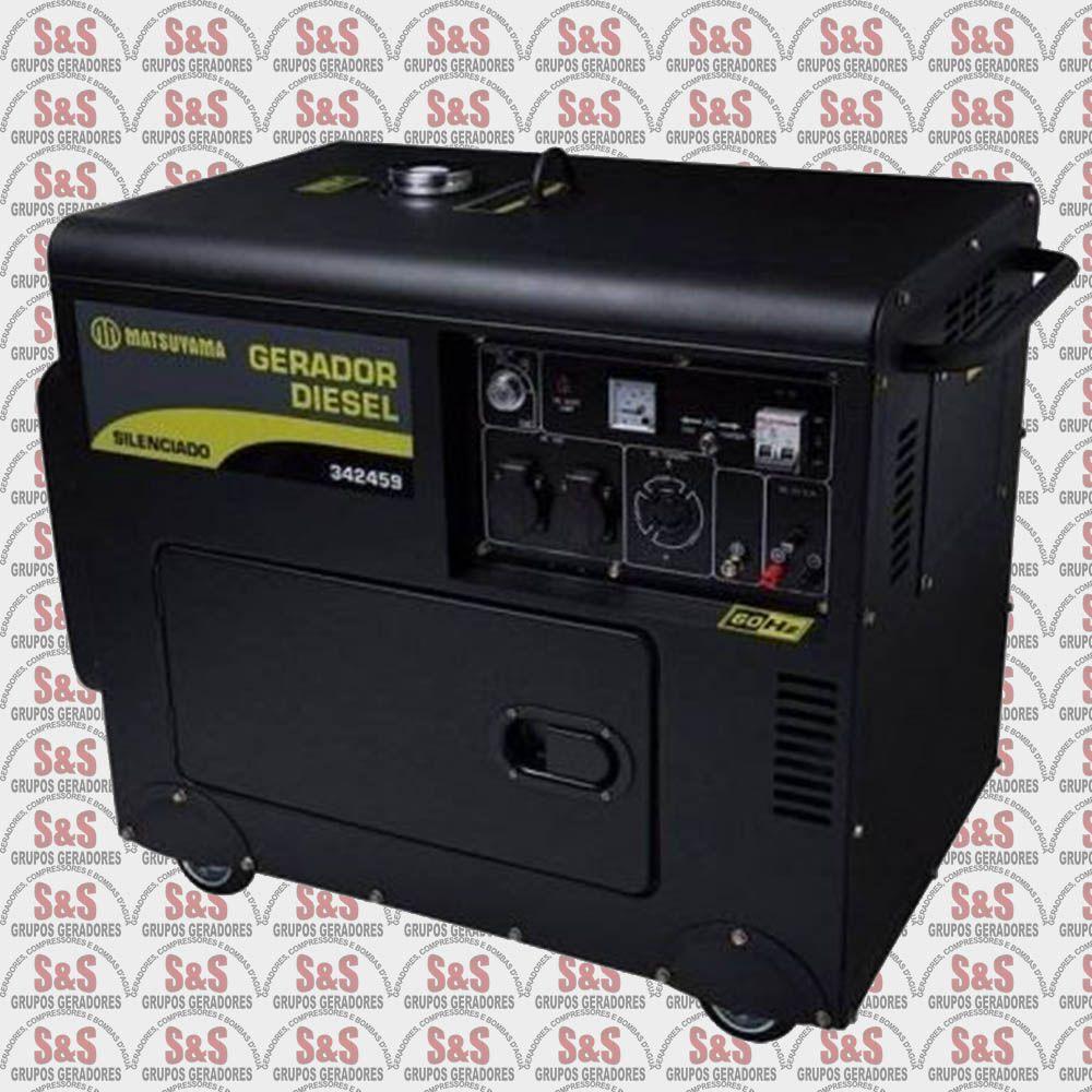 Gerador de Energia a Diesel 6,5KVA Trifásico 380V  Silenciado - Partida Eletrica - 6500 - Matsuyama