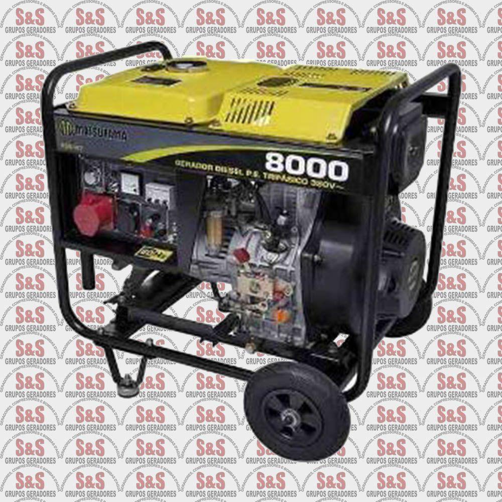 Gerador de Energia a Diesel 8KVA Monofásico 220V - Partida Eletrica - 8000 - Matsuyama