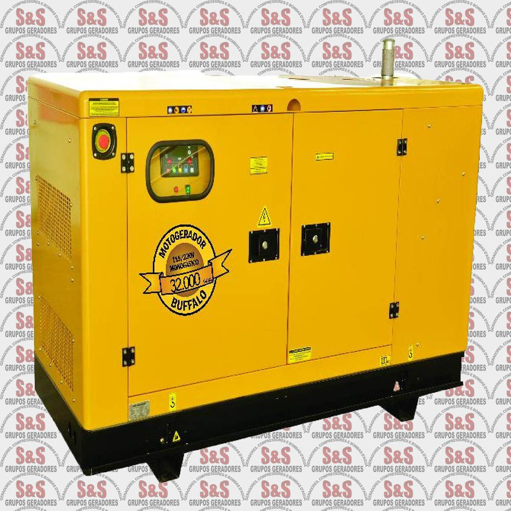 Gerador de Energia a Diesel Monofásico 37 KVA Partida Elétrica - BFDE37000 - Silencioso - Buffalo