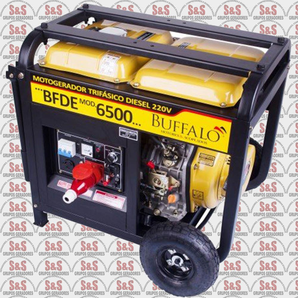 Gerador de Energia a Diesel - Trifásico 6,5 KVA - Partida Elétrica - BFDE6500 380V - Buffalo