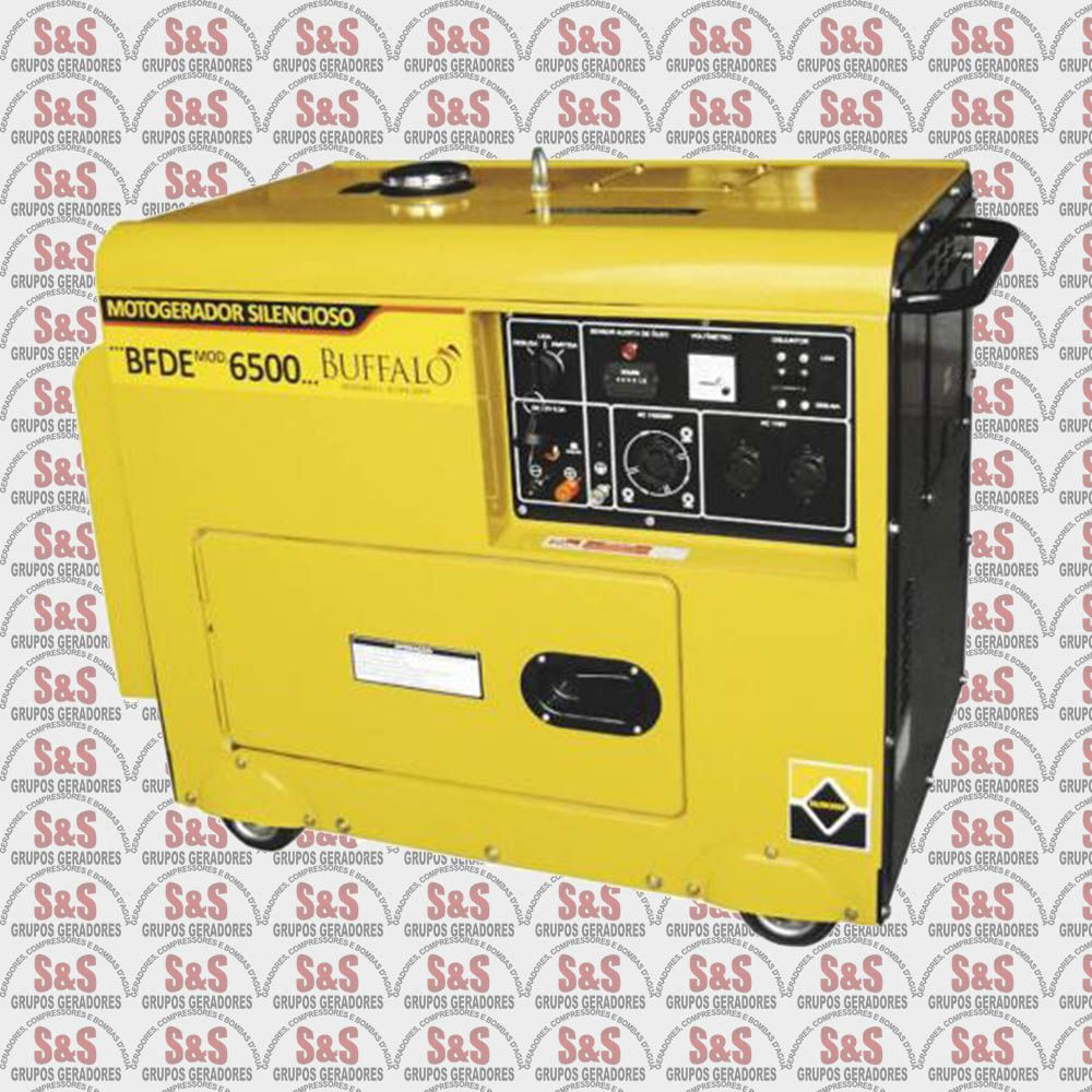 Gerador de Energia a Diesel - Trifásico 6,5 KVA - Partida Elétrica - BFDE6500 - Silencioso - 220 V-   Buffalo