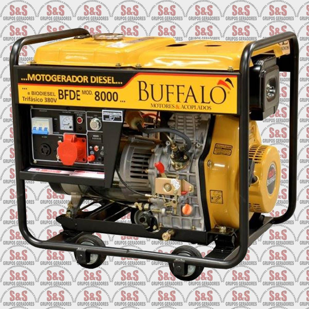 Gerador de Energia a Diesel - Trifásico 8 KVA - Partida Elétrica - BFDE8000 380 V - Buffalo