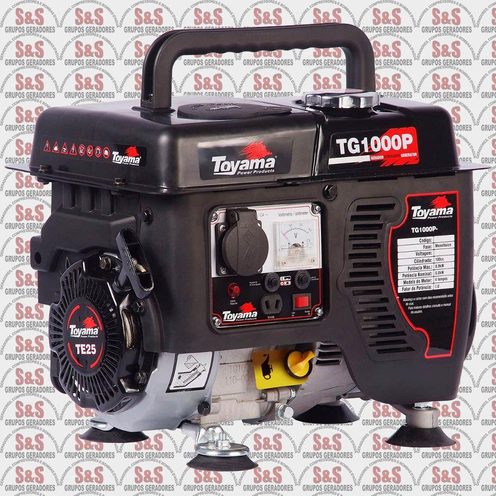 Gerador de Energia a Gasolina - 1000 Watts - Portátil - Monofásico 220V - Partida Manual - TG1000P-220 - Toyama