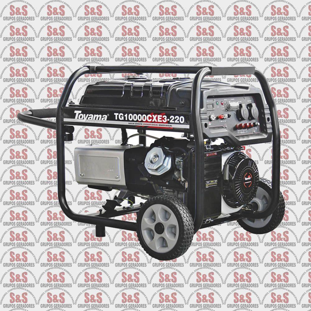 Gerador de Energia a Gasolina - 16 HP - 380V Trifásico -Partida Eletrica - TG10000CXE3 - Toyama