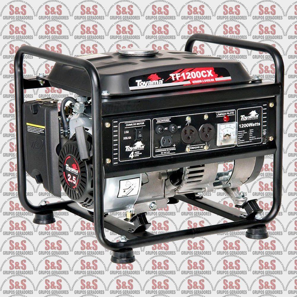 Gerador de Energia a Gasolina 1.2 KVA - Monofásico 110V - Partida Manual - TF1200CXW1 - Toyama