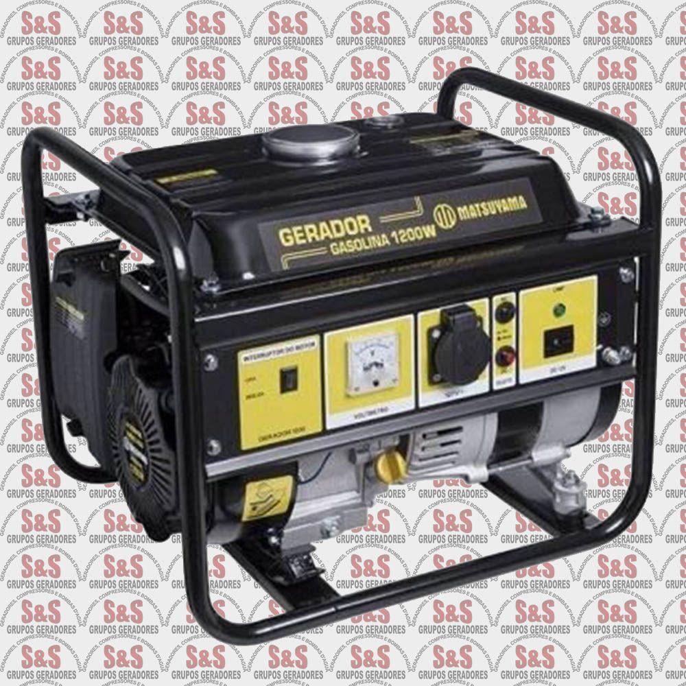 Gerador de Energia a Gasolina 1.2KVA - 4 Tempos  Monofásico 110V - Partida Manual - 1200 - Matsuyama