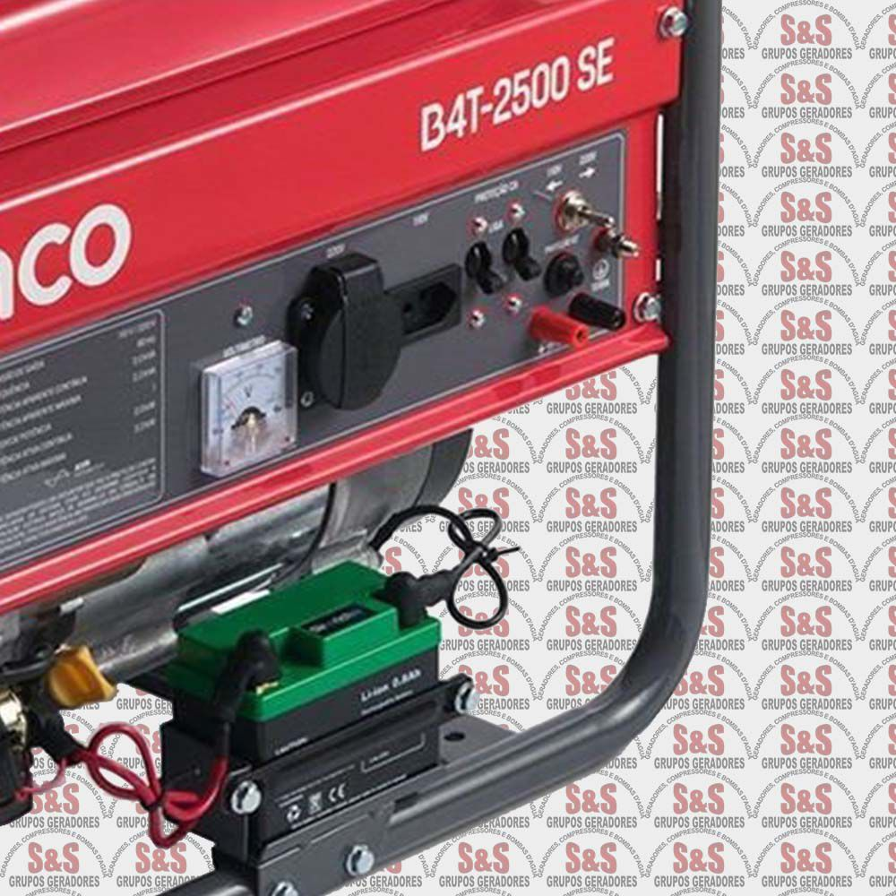 Gerador de Energia a Gasolina 2.2 KVA - Monofásico - Partida Eletrica - B4T2500SE-Chave Seletora- Branco