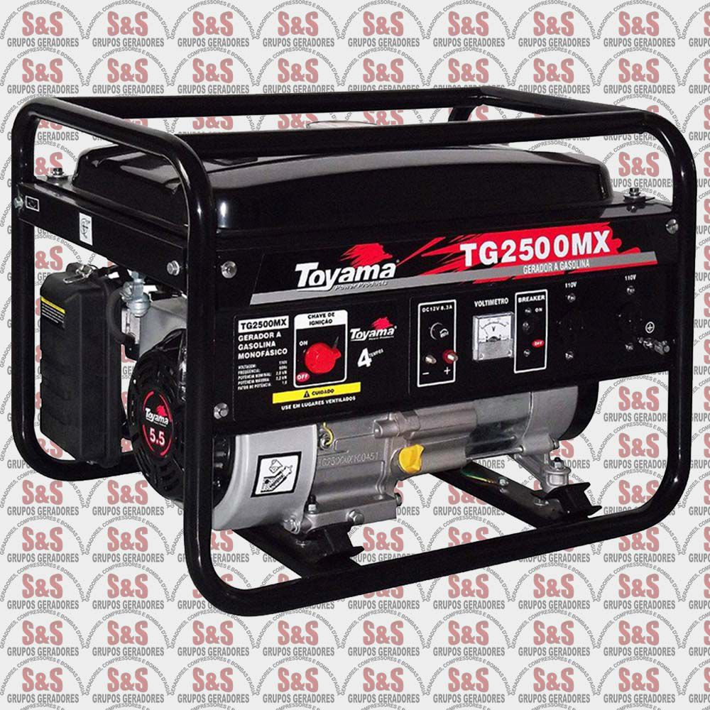 Gerador de Energia a Gasolina 2.500 Watts - Monofásico 110V - Partida Manual - TG2500MX-110 - Toyama