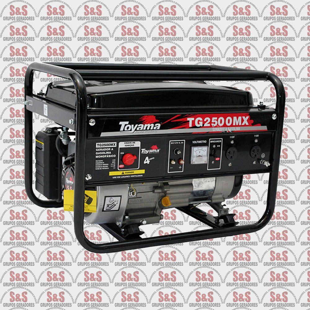 Gerador de Energia a Gasolina 2.500 Watts - Monofásico 220V - Partida Manual - TG2500MX-220 - Toyama