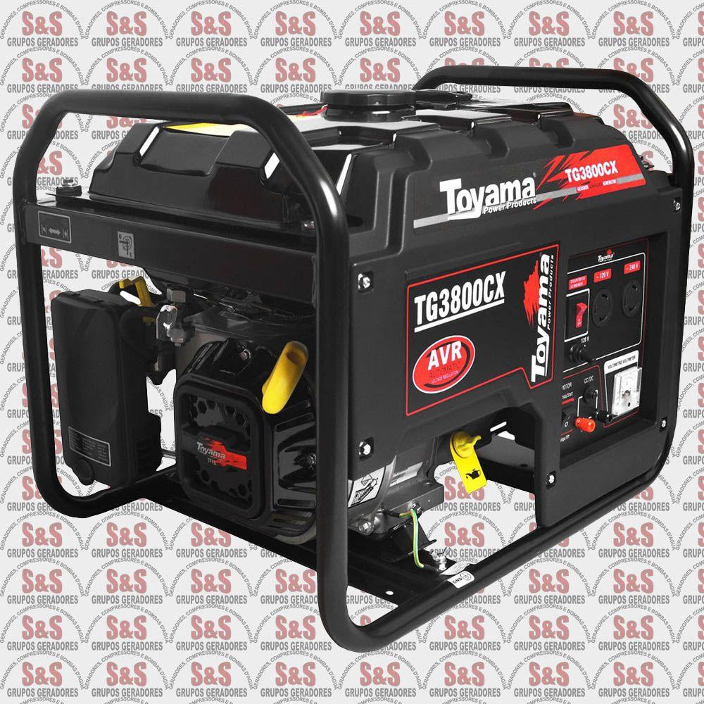 Gerador de Energia a Gasolina 3.5 KVA - Monofásico - Partida Manual - TG3800CX-XP - Toyama