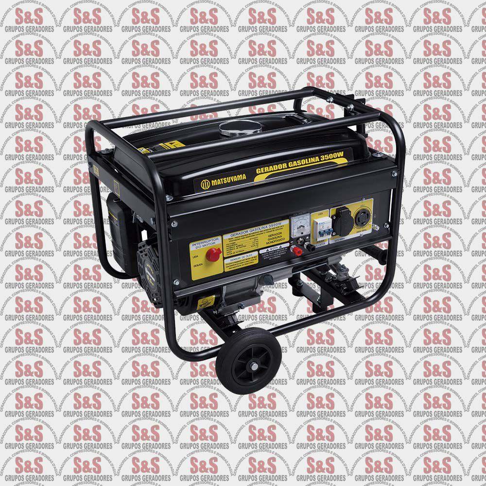 Gerador de Energia a Gasolina 3,5KVA - 4 Tempos Monofásico 110/220V - Patida Eletrica- 3.500 - Matsuyama