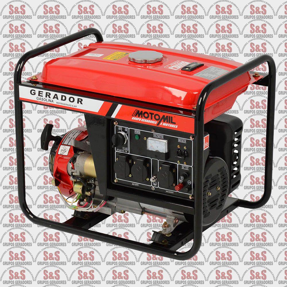 Gerador de Energia a Gasolina 3 KVA - Monofásico - Partida Elétrica - MG3000CLE - Motomil
