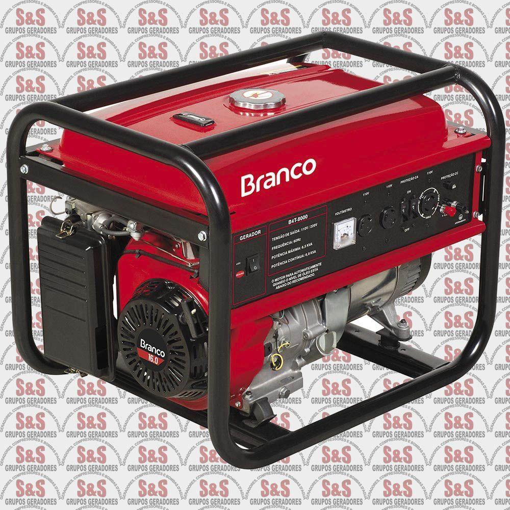 Gerador de Energia a Gasolina 6.5 KVA - Monofásico - Partida Elétrica - B4T8000E - Branco