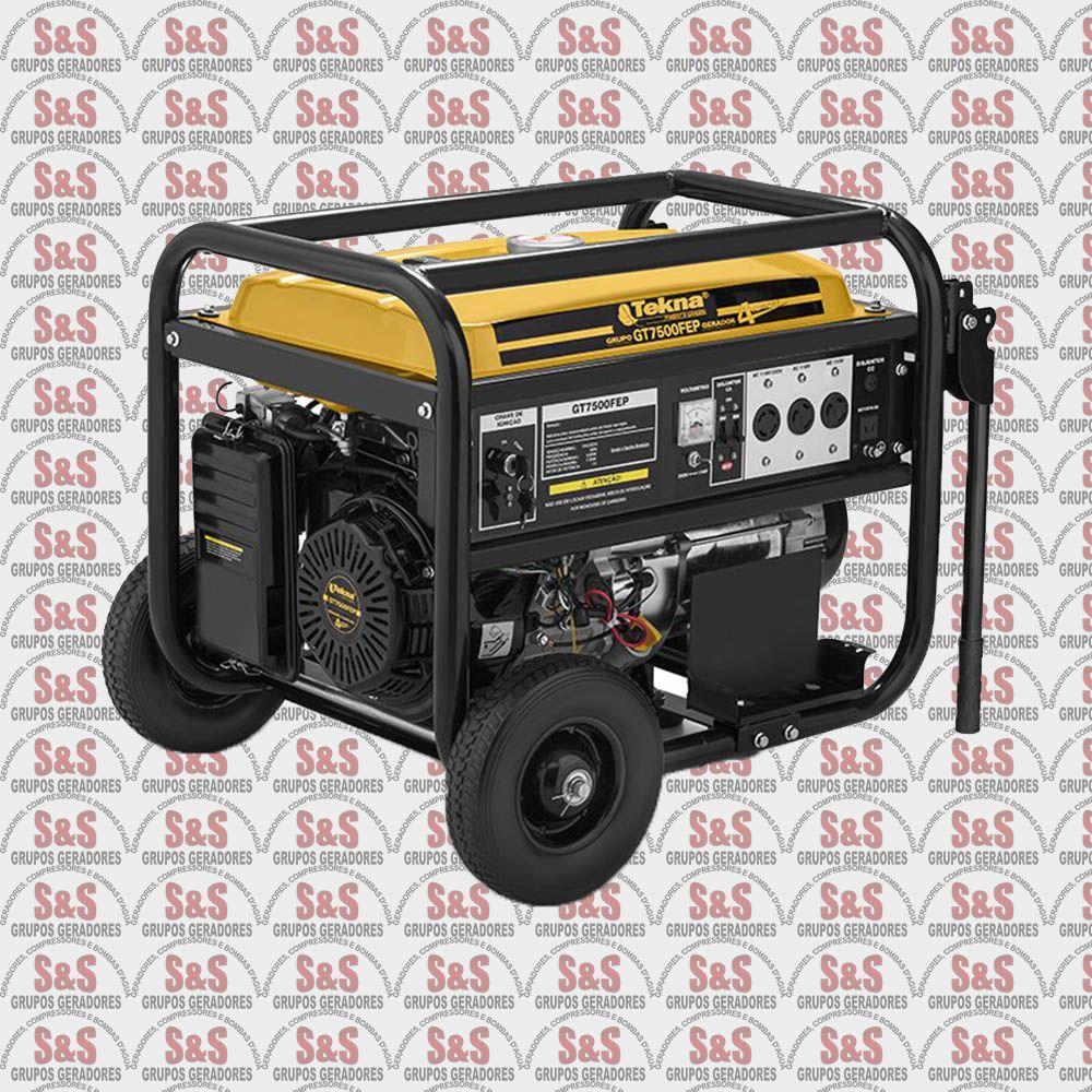 Gerador de Energia a Gasolina 7.2 KVA - Monofásico - Partida Elétrica - GT7500FE - Tekna