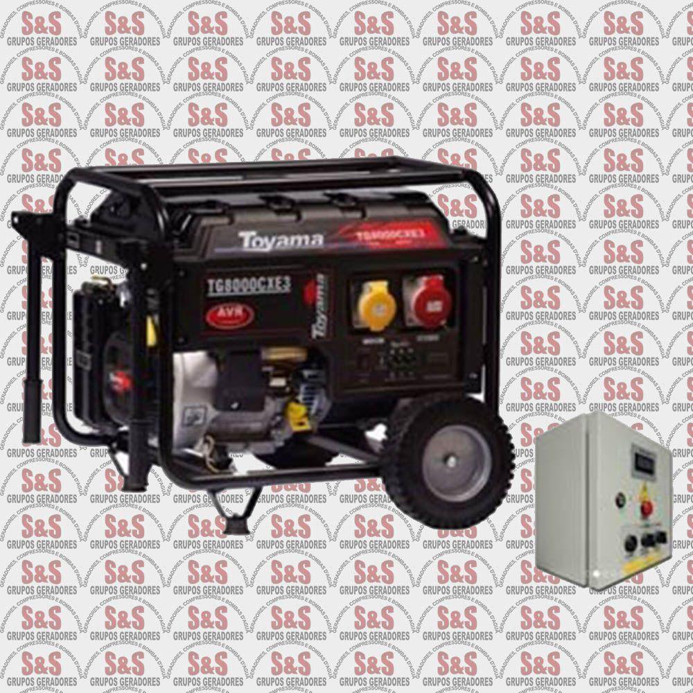 Gerador de Energia a Gasolina 8 KVA - Trifásico 220V - Partida Elétrica - TG8000CX3ED - Toyama