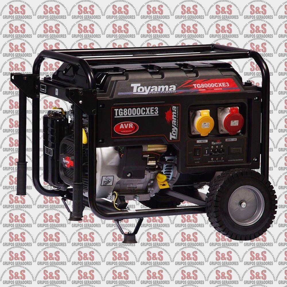 Gerador de Energia a Gasolina 8 KVA - Trifásico 380V - Partida Elétrica - TG8000CXE3 - Toyama
