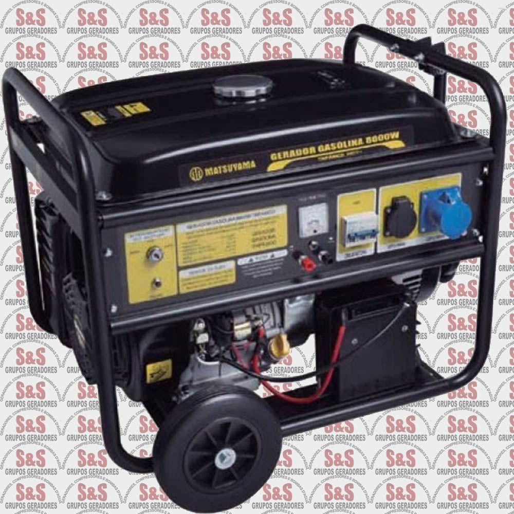 Gerador de Energia a Gasolina 8KVA - 4 Tempos  Monofásico 220V - Partida Eletrica - 8000 - Matsuyama