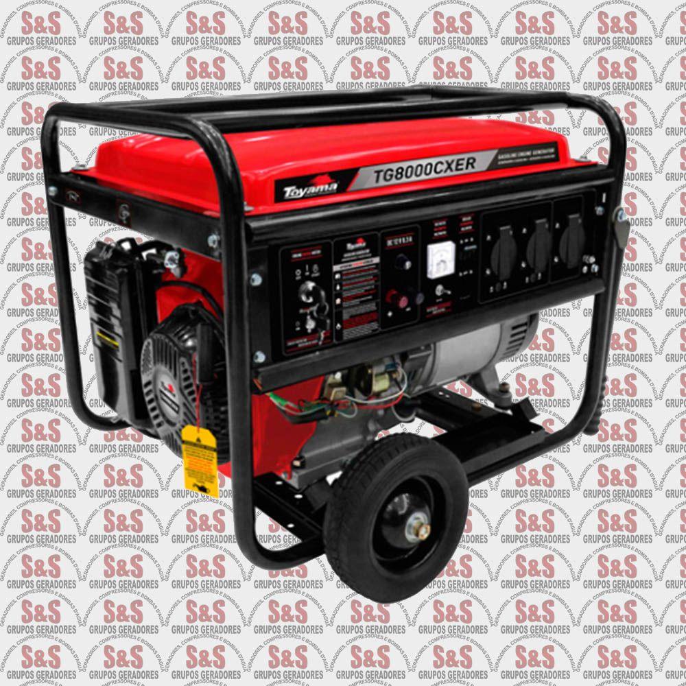 Gerador de Energia a Gasolina- 8Kva- Monofasico-Part. Eletrica- TG8000CXER- Toyama