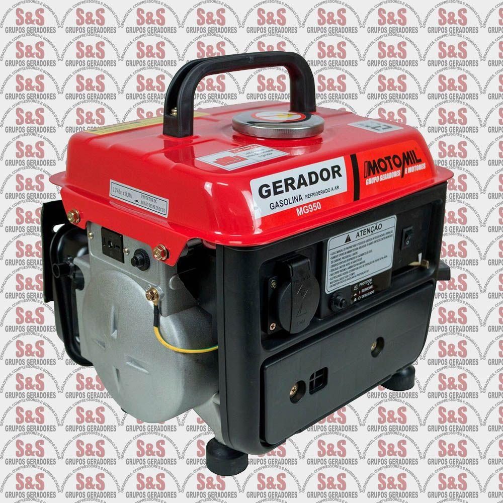 Gerador de Energia a Gasolina 950W - Monofásico - Partida Manual - MG950 - Motomil